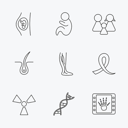 paediatrics: Pregnancy, pediatrics and family icons. Trichology, vein varicose and oncology awareness ribbon linear signs. Radiology, DNA icons. Linear black icons on white background. Illustration