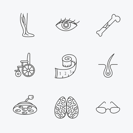 dermatologist: Vein varicose, neurology and trichology icons. Surgical lamp, glasses and eye linear signs. Bone fracture, wheelchair and weight loss icons. Linear black icons on white background. Illustration