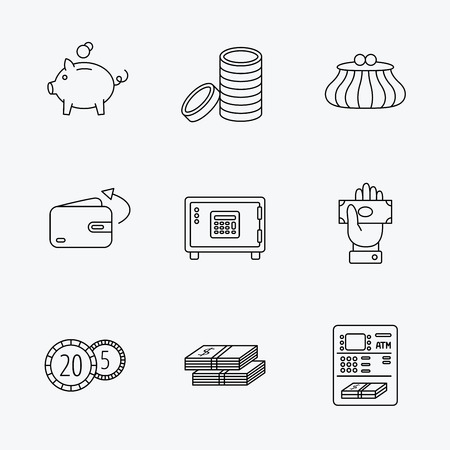 give money: Piggy bank, cash money and wallet icons. Safe box, send money and dollar usd linear signs. Give money, coins and ATM icons. Linear black icons on white background. Illustration