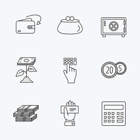 safe with money: Cash money, safe box and calculator icons. Safe box, cheque and dollar usd linear signs. Profit investment, wallet and coins icons. Linear black icons on white background. Illustration