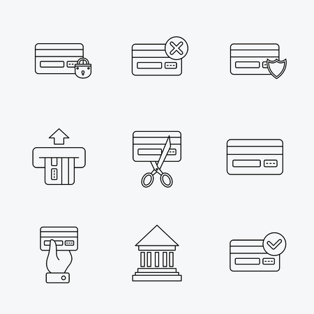 transactions: Bank credit card icons. Banking, blocked and expired debit card linear signs. Money transactions and shopping icons. Linear black icons on white background.