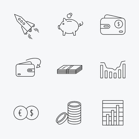deceleration: Piggy bank, cash money and startup rocket icons. Wallet, currency exchange and dollar usd linear signs. Chart, coins and dynamics icons. Linear black icons on white background.