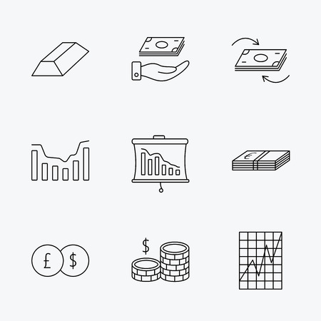 gold bar: Banking, cash money and statistics icons. Money flow, gold bar and dollar usd linear signs. Dynamics chart, coins and savings icons. Linear black icons on white background.