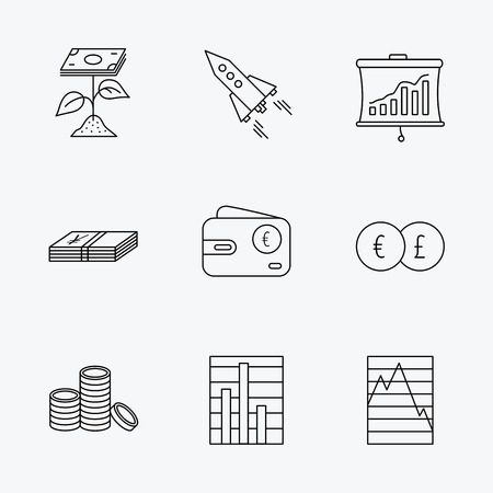 deceleration: Profit investment, cash money and startup rocket icons. Wallet, currency exchange and euro linear signs. Chart, coins and statistics icons. Linear black icons on white background.