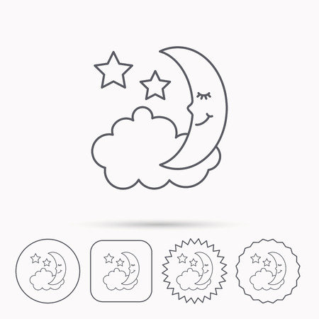 moonbeam: Night or sleep icon. Moon and stars sign. Crescent astronomy symbol. Linear circle, square and star buttons with icons. Illustration