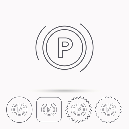 dashboard: Parking icon. Dashboard sign. Driving zone symbol. Linear circle, square and star buttons with icons.