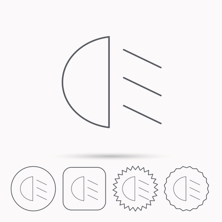 dipped: Passing light icon. Dipped beam sign. Linear circle, square and star buttons with icons. Illustration