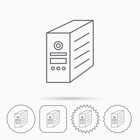 pc case: Computer server icon. PC case or tower sign. Linear circle, square and star buttons with icons.