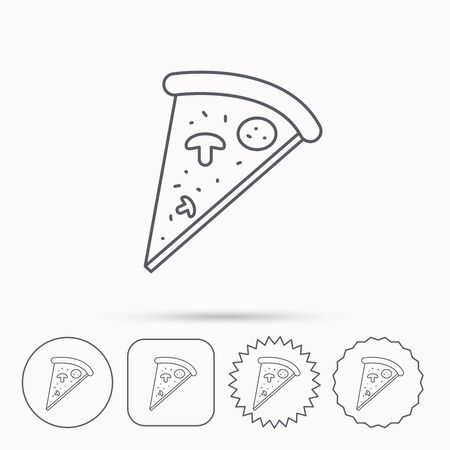 bake: Pizza icon. Piece of Italian bake sign. Linear circle, square and star buttons with icons.
