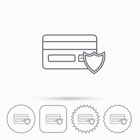 secure icon: Protection credit card icon. Shopping sign. Linear circle, square and star buttons with icons.
