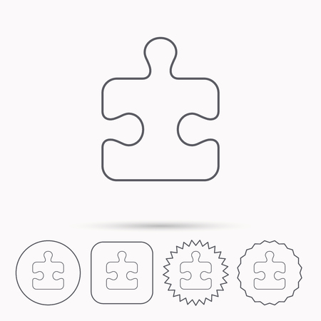 logical: Puzzle icon. Jigsaw logical game sign. Boardgame piece symbol. Linear circle, square and star buttons with icons. Illustration