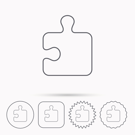 boardgames: Puzzle icon. Jigsaw logical game sign. Boardgame piece symbol. Linear circle, square and star buttons with icons. Illustration