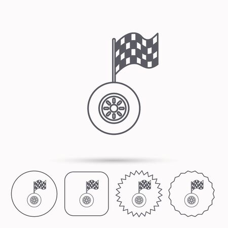 racing sign: Race icon. Wheel with racing flag sign. Linear circle, square and star buttons with icons.
