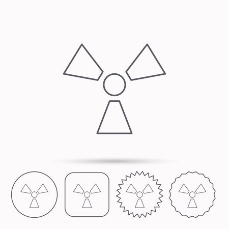 radiology: Radiation icon. Radiology sign. Linear circle, square and star buttons with icons.
