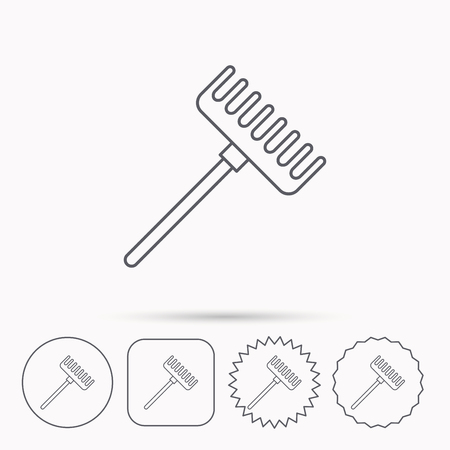 gardening  equipment: Rake icon. Gardening equipment sign. Outdoor instrument symbol. Linear circle, square and star buttons with icons. Illustration