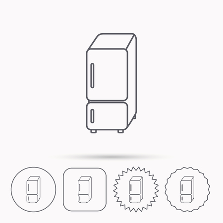 frig: Refrigerator icon. Fridge sign. Linear circle, square and star buttons with icons. Illustration