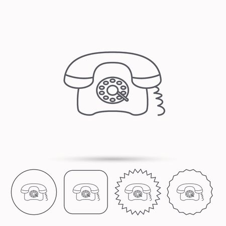 old telephone: Retro phone icon. Old telephone sign. Linear circle, square and star buttons with icons.