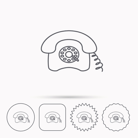 old phone: Retro phone icon. Old telephone sign. Linear circle, square and star buttons with icons.