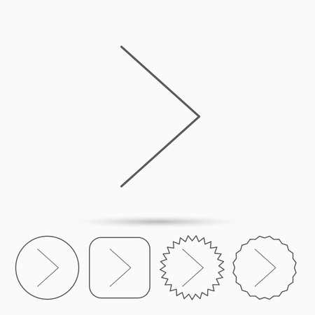 plain button: Right arrow icon. Next sign. Forward direction symbol. Linear circle, square and star buttons with icons.