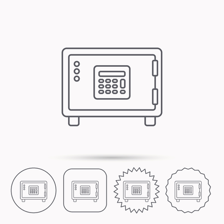 combination lock: Safe icon. Money deposit sign. Combination lock symbol. Linear circle, square and star buttons with icons. Illustration