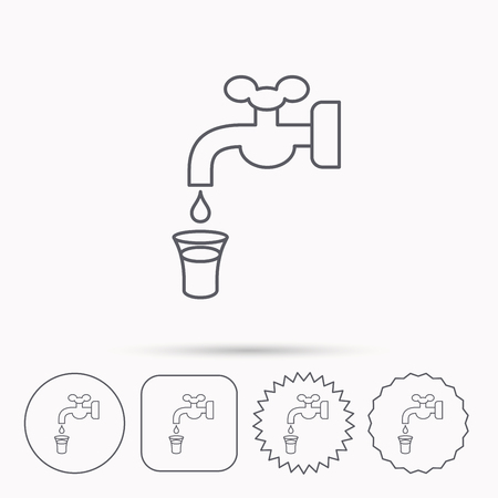 waterworks: Save water icon. Crane or Faucet with drop sign. Linear circle, square and star buttons with icons.