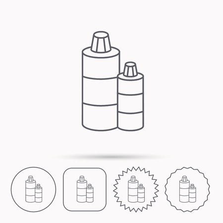 shampoo bottles: Shampoo bottles icon. Liquid soap sign. Linear circle, square and star buttons with icons. Illustration