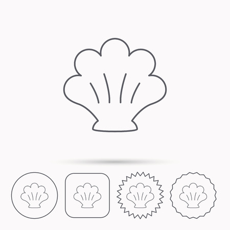 mollusk: Sea shell icon. Seashell sign. Mollusk shell symbol. Linear circle, square and star buttons with icons. Illustration