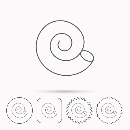 mollusk: Sea shell icon. Spiral seashell sign. Mollusk shell symbol. Linear circle, square and star buttons with icons. Illustration