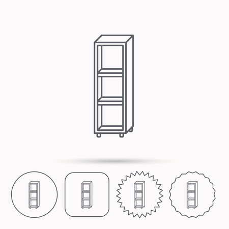 interior shelving: Empty shelves icon. Shelving sign. Linear circle, square and star buttons with icons.