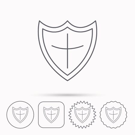 honour guard: Shield icon. Protection sign. Royal defence symbol. Linear circle, square and star buttons with icons. Illustration