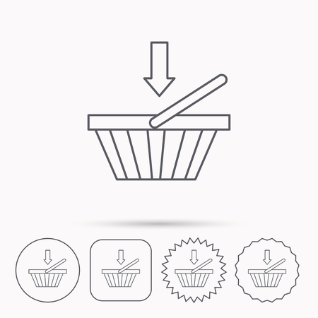 Shopping cart icon. Online buying sign. Linear circle, square and star buttons with icons. Illustration