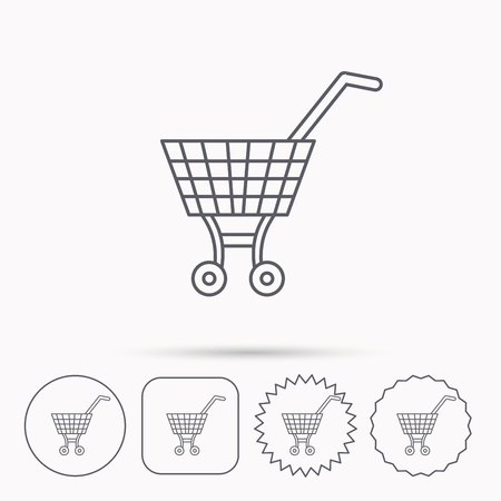 Shopping cart icon. Market buying sign. Linear circle, square and star buttons with icons.