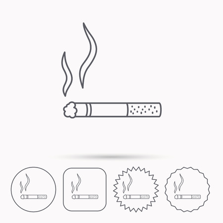 cigar label: Smoking allowed icon. Yes smoke sign. Linear circle, square and star buttons with icons.