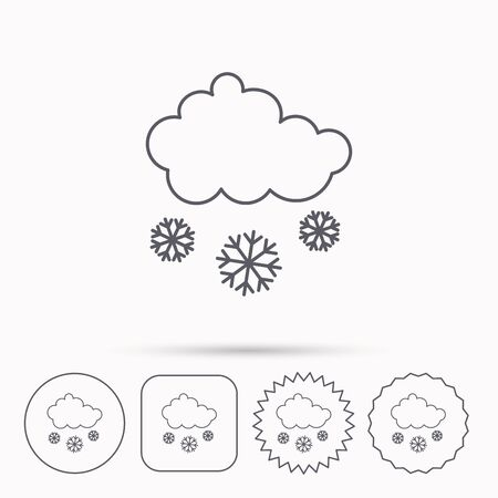 overcast: Snow icon. Snowflakes with cloud sign. Snowy overcast symbol. Linear circle, square and star buttons with icons.