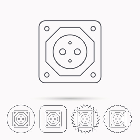 star power: European socket icon. Electricity power adapter sign. Linear circle, square and star buttons with icons.