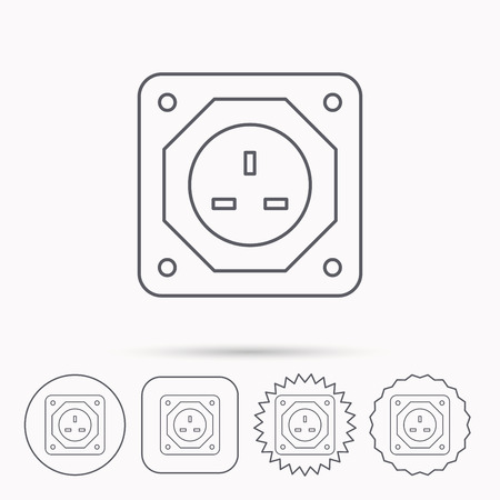star power: UK socket icon. Electricity power adapter sign. Linear circle, square and star buttons with icons.
