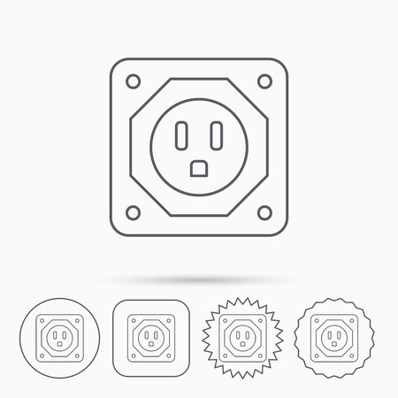 adapter: USA socket icon. Electricity power adapter sign. Linear circle, square and star buttons with icons. Illustration