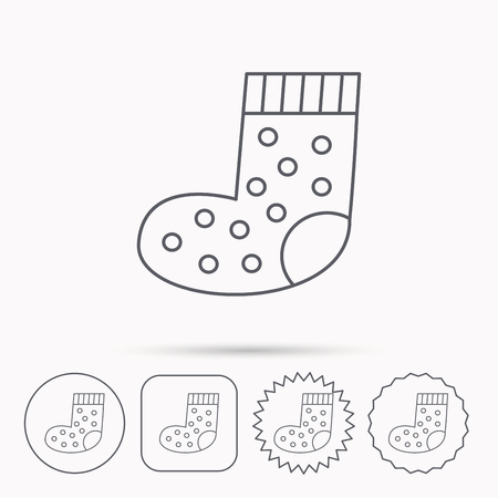 baby underwear: Sock icon. Baby underwear sign. Clothes symbol. Linear circle, square and star buttons with icons. Illustration