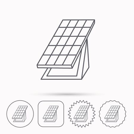 collector: Solar collector icon. Sunlight energy generation sign. Innovation battery power symbol. Linear circle, square and star buttons with icons. Illustration