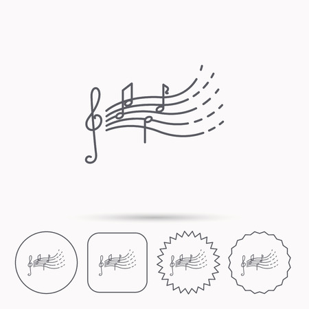 gclef: Songs for kids icon. Musical notes, melody sign. G-clef symbol. Linear circle, square and star buttons with icons.