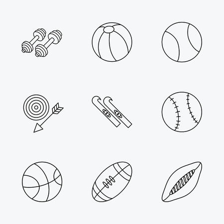 pilates ball: Sport fitness, tennis and basketball icons. Baseball, skis and American footmal signs. Rugby, swimming or pilates ball icons. Linear black icons on white background.