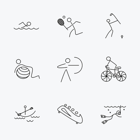 boating: Swimming, tennis and golf icons. Biking, diving and gymnastics linear signs. Archery, boating and bobsleigh icons. Linear black icons on white background.