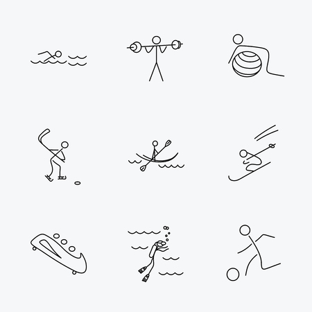 bobsleigh: Swimming, football and skiing icons. Ice hockey, diving and gymnastics linear signs. Kayaking, weightlifting and bobsleigh icons. Linear black icons on white background.