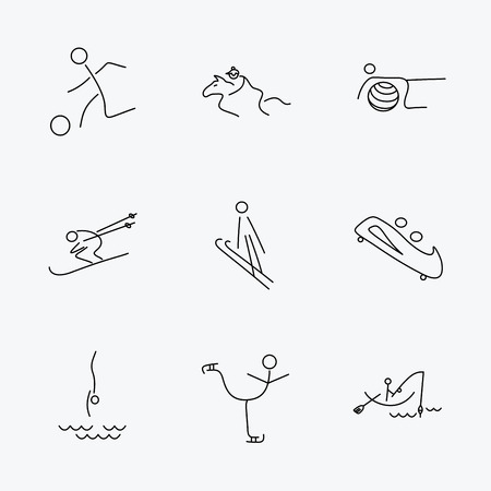 bobsled: Pilates, football and skiing icons. Fishing, diving and figure skating linear signs. Ski jumping, horseback riding and bobsled icons. Linear black icons on white background. Illustration