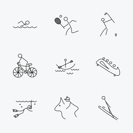 bobsled: Swimming, tennis and golf icons. Biking, diving and horseback riding linear signs. Ski jumping, boating and bobsleigh icons. Linear black icons on white background. Illustration