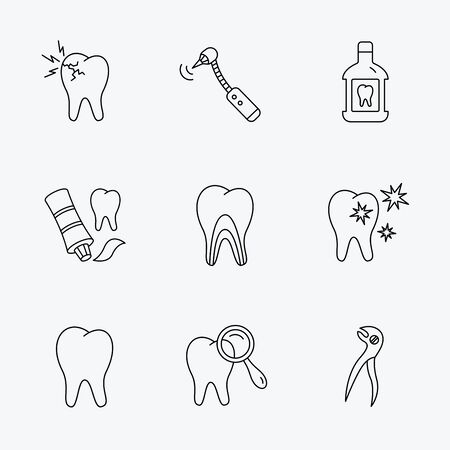 mouthwash: Tooth, stomatology and toothache icons. Mouthwash, dental pliers and diagnostics linear signs. Dentinal tubules, drilling icons. Linear black icons on white background.