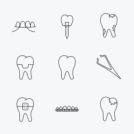 fillings: Dental implant, floss and tooth icons. Braces, fillings and tweezers linear signs. Caries icon. Linear black icons on white background. Illustration