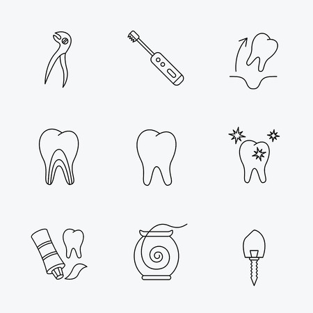 paradontosis: Tooth extraction, electric toothbrush icons. Dental implant, floss and dentinal tubules linear signs. Toothpaste icon. Linear black icons on white background.
