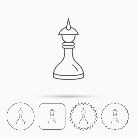 mind game: Strategy icon. Chess queen or king sign. Mind game symbol. Linear circle, square and star buttons with icons. Illustration
