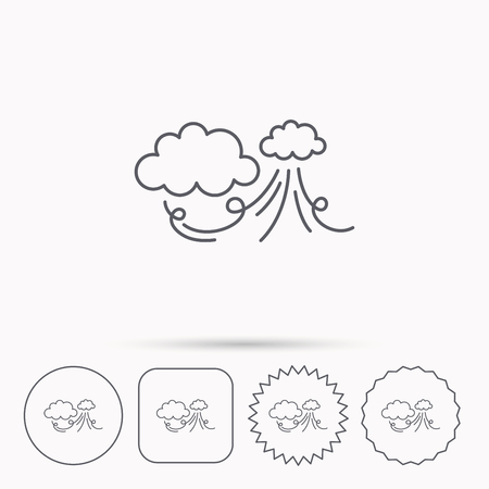 the tempest: Wind icon. Cloud with storm sign. Strong wind or tempest symbol. Linear circle, square and star buttons with icons.